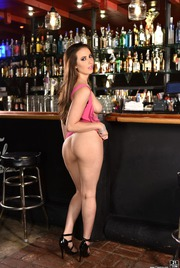 Casey Calvert Strips Off Her Pink Dress In A Bar 06