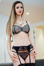 Sexy Stella Cox Strips Off Her Black Lingerie 05