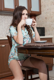 Teen Beauty Lilian Strips In The Kitchen 00