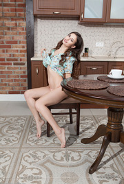 Teen Beauty Lilian Strips In The Kitchen 02