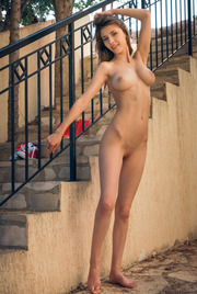 Busty Teen Mila Azul Strips On The Stairway 13