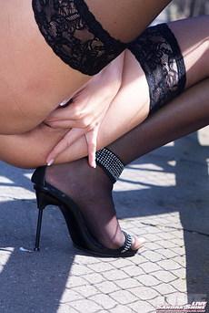 Sandra Shine Naked On Public Bridge 13