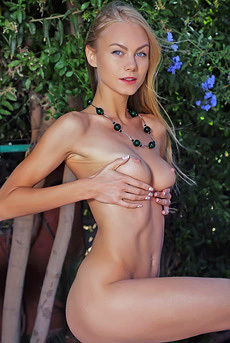 Blonde Teen Nancy A Posing Nude In The Garden