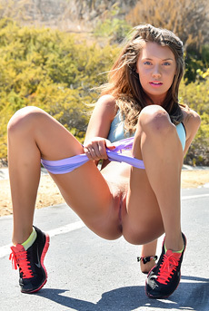 Sporty Girl Elena Flashes Her Pussy Outdoors