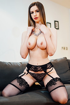 Sexy Stella Cox Strips Off Her Black Lingerie