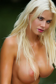 Busty Blonde Playmate Outdoor Pussy